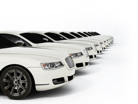 Luxury car fleet consisting of generic brandless design. 3D illustration.
