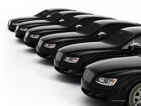 Luxury car fleet consisting of generic brandless design. 3D illustration.