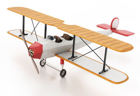 Vintage airplane isolated on white background. 3D illustration.