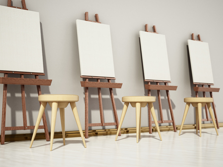 Easels and blank canvases standing in a row. 3D illustration.