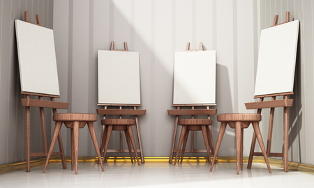 Easels and blank canvases standing in a row. 3D illustration. Stock Illustration - 118834336