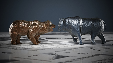 Bear and bull figures on economy newspaper pages. 3D illustration. Stock Photo