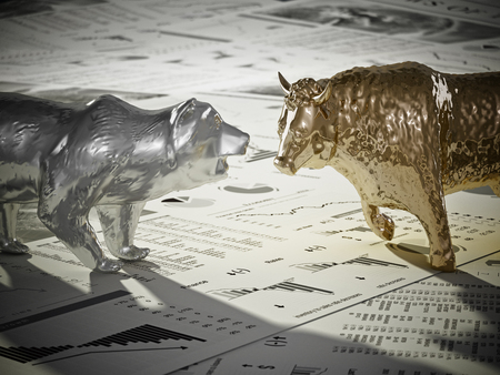 Bear and bull figures on economy newspaper pages. 3D illustration. Фото со стока