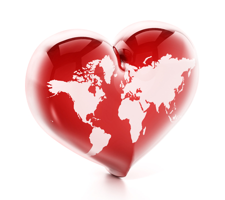 Heart shaped red earth isolated on white background. 3D illustration. Stock Photo