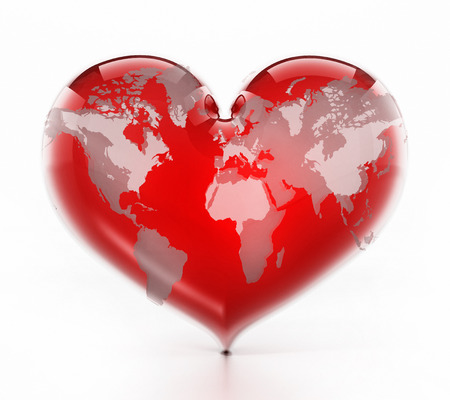 Heart shaped red earth isolated on white background. 3D illustration. Stock Illustration - 118834341