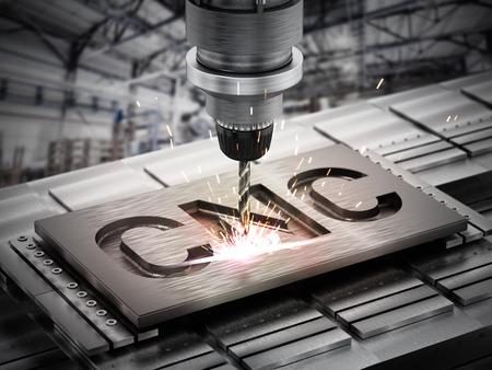 Nahaufnahme von generischen CNC-Bohrgeräten. 3D-Darstellung.