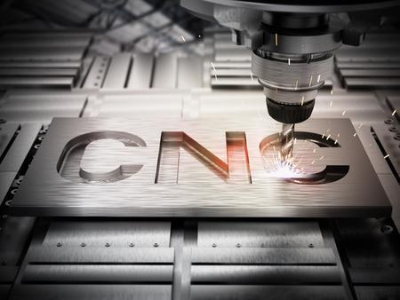 Primer plano de un equipo de perforación CNC genérico. Ilustración 3D. Foto de archivo