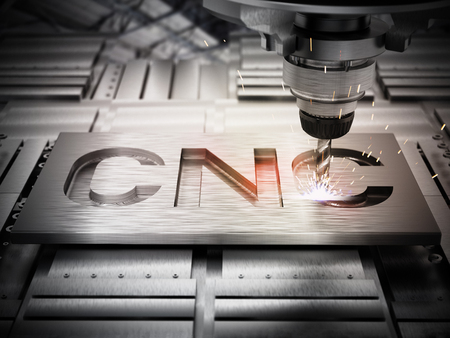 Zbliżenie ogólnego sprzętu wiertniczego CNC. Ilustracja 3D. Zdjęcie Seryjne