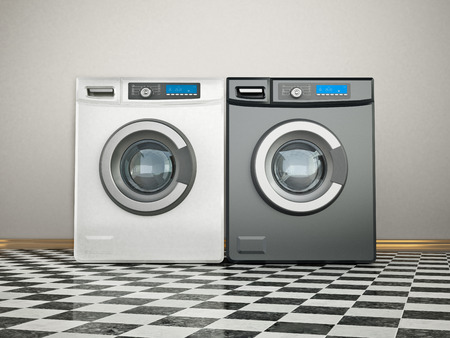 Washing machines and and or tumble dryers. 3D illustration. Stock Illustration - 118834438