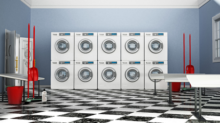 Laundry room with a large of washing machines and tumble dryers. 3D illustration.
