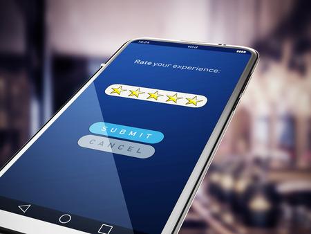 Five stars rating screen on smartphone. 3D illustration.