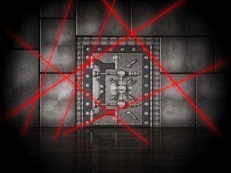 Red laser beams on bank vault door under heavy protection. 3D illustration.