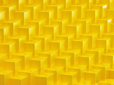 Yellow abstract cubes forming a background. Repeating pattern. 3D illustration.