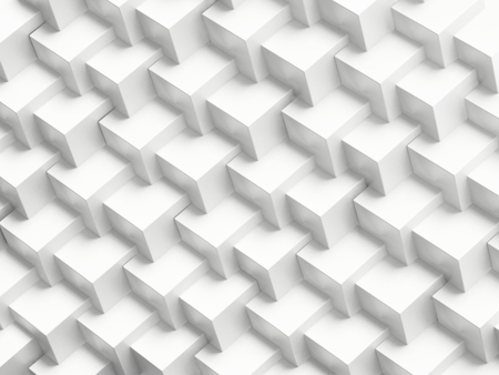 White abstract cubes forming a background. Repeating pattern. 3D illustration. Stock Photo