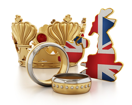 Royal wedding concept with a crown, wedding rings and British map and flag. 3D illustration.