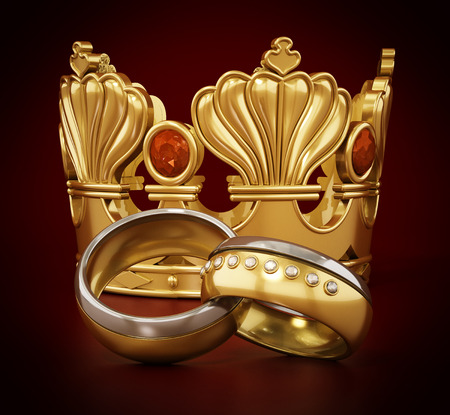 Royal wedding concept with crown and wedding rings. 3D illustration.