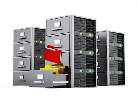 File cabinet combined with network server. 3D illustration.