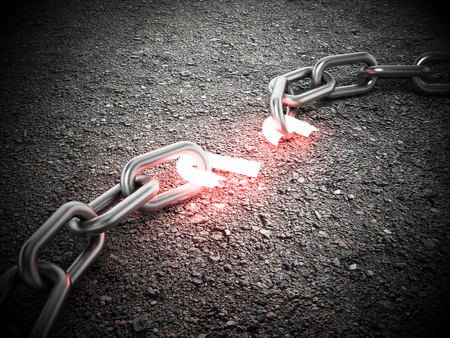 Illuminated broken chain part on the ground. 3D illustration. Stock Photo