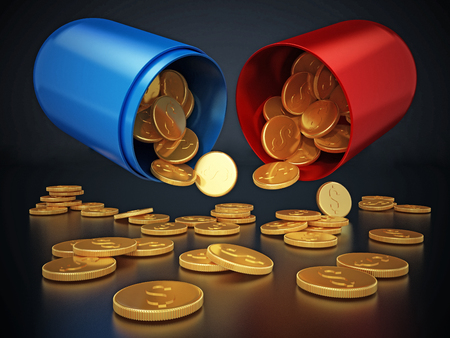 Gold coins inside open red and blue pill. 3D illustration. Stock Photo