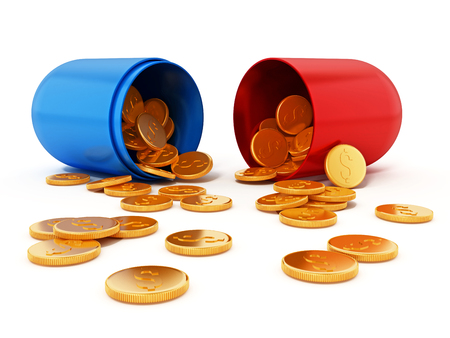 Gold coins inside open red and blue pill. 3D illustration. Stock Illustration - 120535939