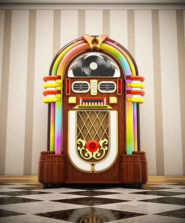 Jukebox standing on checkers ground next to the wall. 3D illustration. Stock Illustration - 120535946