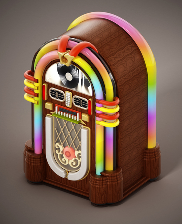 Jukebox standing on brown background. 3D illustration. Stock Photo