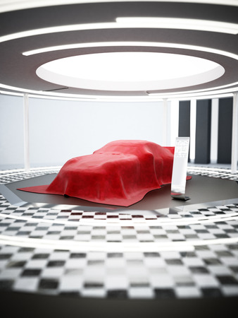 New car model showcase on the podium under the red silk. 3D illustration.