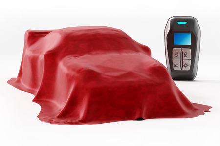Smart remote car key and new car model under the red silk cloth. 3D illustration.