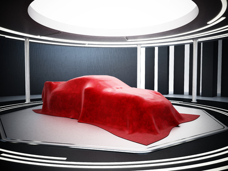 New car model showcase on the podium under the red silk. 3D illustration. Stock Illustration - 120535976
