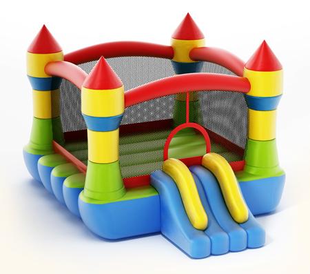 Casa de rebote aislada sobre fondo blanco. Ilustración 3D.