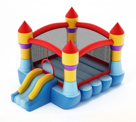 Bounce house isolated on white background. 3D illustration.