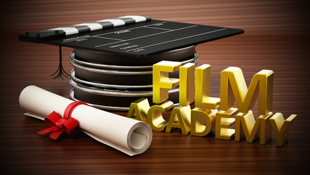 Clapboard standing on film strips like a mortarboard. Film academy text and diploma. 3D illustration.