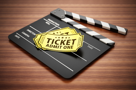 Clapboard and cinema tickets standing on wooden surface. 3D illustration.