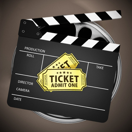 Clapboard and cinema tickets on film reels. 3D illustration.