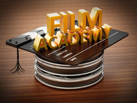 Film reels, clapboard and cinema tickets isolated on white background. 3D illustration.