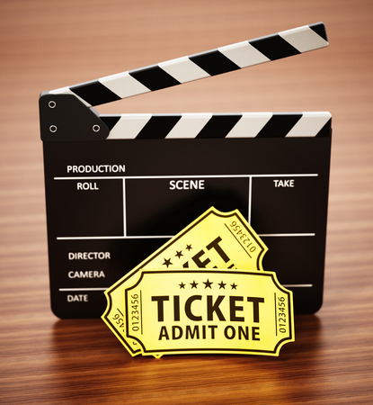 Clapboard and cinema tickets standing on wooden surface. 3D illustration. Stock Illustration - 120691414