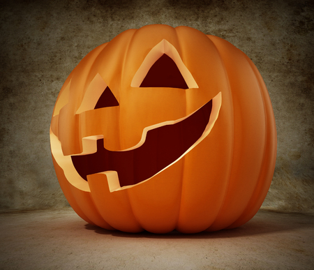 Halloween pumpkin with a funny smiling face. 3D illustration. Stock Illustration - 120536030