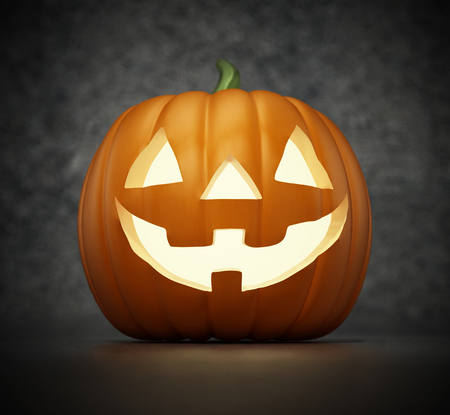 Lit Halloween pumpkin with a funny smiling face. 3D illustration.