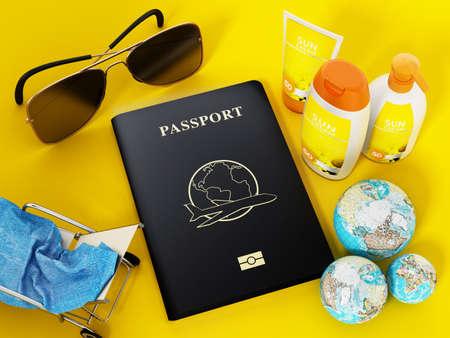 Passport, sunglasses, sunbed, sun cream and towel 3D illustration Stockfoto