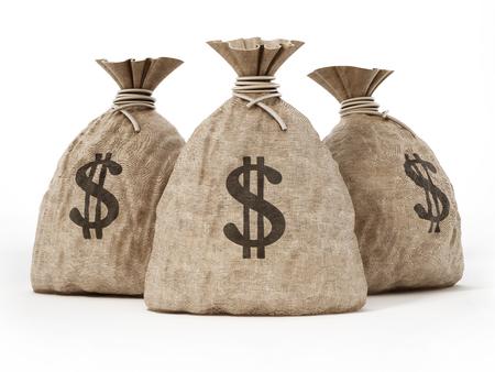 Money sack with dollar icon. 3D illustration. Stock Illustration - 120311734