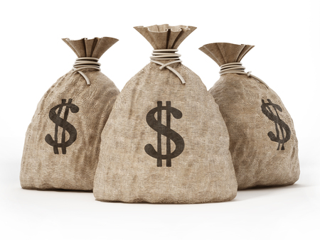 Money sack with dollar icon. 3D illustration. Stock Photo