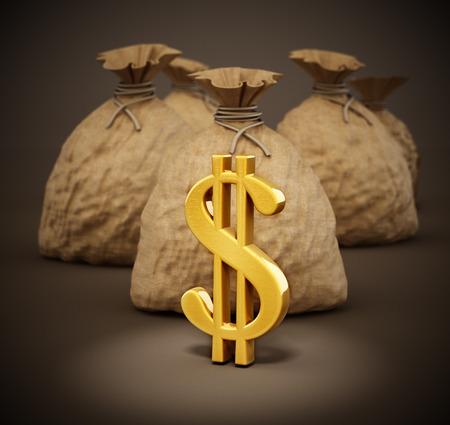 Money sacks with gold dollar icons. 3D illustration.