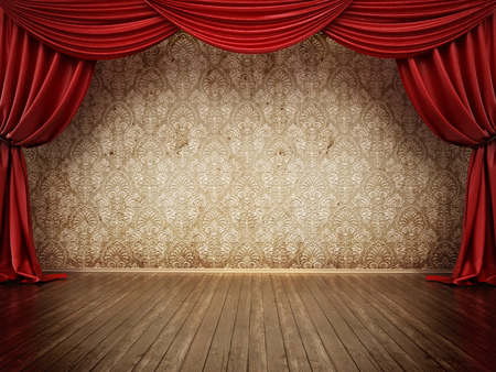 Theater stage with red curtain and parquet ground. 3D illustration. Stock Illustration - 120311762