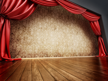 Theater stage with red curtain and parquet ground. 3D illustration. Stock Photo