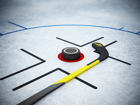 Ice hockey stick and puck on scratched ice background. 3D illustration. Stock Illustration - 120311765