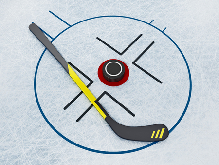 Ice hockey stick and puck on scratched ice background. 3D illustration. Stock Illustration - 120536043