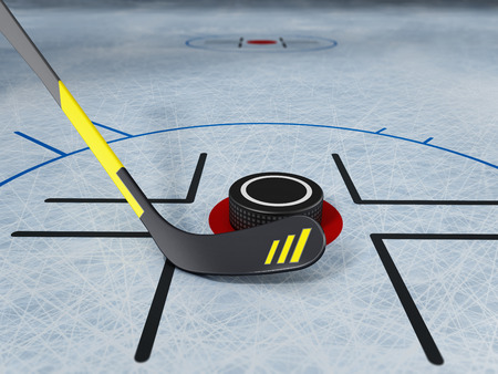 Ice hockey stick and puck on scratched ice background. 3D illustration. Stock Illustration - 120536045