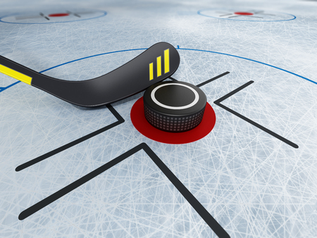 Ice hockey stick and puck on scratched ice background. 3D illustration.