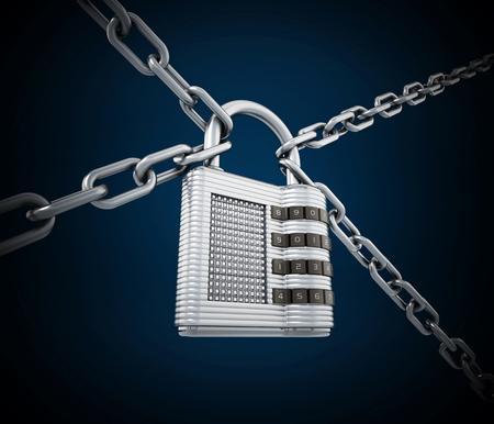 Chained padlock on dark blue background. 3D illustration. Stock Illustration - 120536056