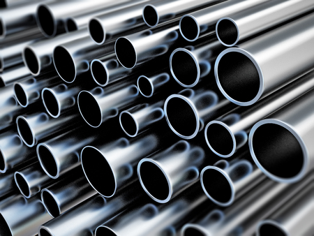 Large group of steel tubes. 3D illustration. Stock Illustration - 120536088